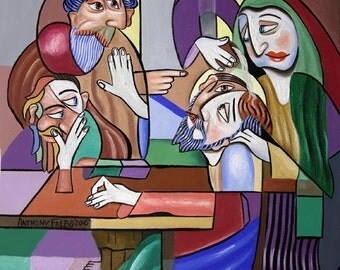 Jesus Anointed At Bethany Poster / Print Holy Spirit Cubism Anthony Falbo
