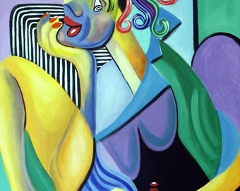 My Redneck Girl Print / Poster  southern Cubism Woman Toe Nails Anthony Falbo