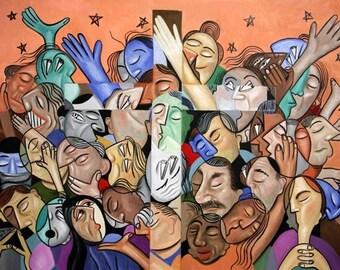 A Cubist Prayer, One World, One God Jesus Praying Forgivness Savior Love Anthony Falbo