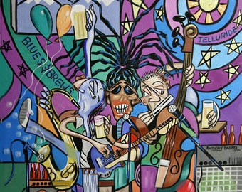Blues And Brews Print Poster Cubism Concert  Guitar Music   Anthony Falbo