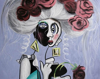 Woman With Fake Hair And Roses Print / Poster Cubism  Anthony Falbo