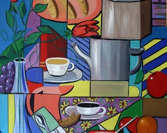 Espresso Poster / Print Coffee Cookies Cubism anthony Falbo