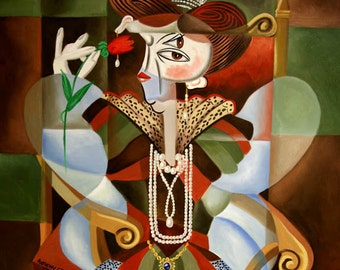 Oueen For A Day Woman Cubist Poster Print Anthony Falbo