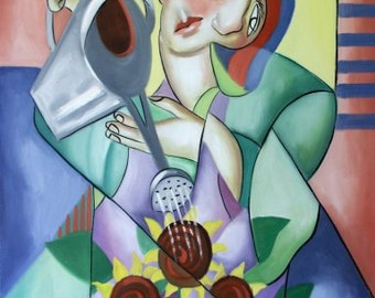 Lady With Watering Can Poster Print lady Flowers Garden Anthony Falbo
