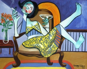 One More And I Got To Go Print Poster Woman Drinking Smoking Lady Cubist Anthony Falbo