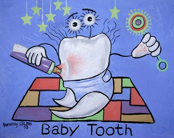 Baby Tooth Print Poster Teeth Dental Art Collectable Dentist  Anthony Falbo