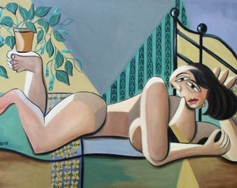 Lady With A Green Thumb cubist Print / Poster Anthony Falbo