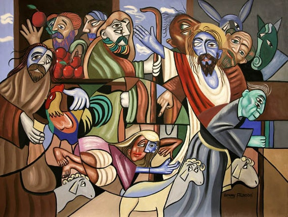 Who Touched Me Giclee Print Poster Jesus Old Womam  Robe Christian Art Anthony Falbo
