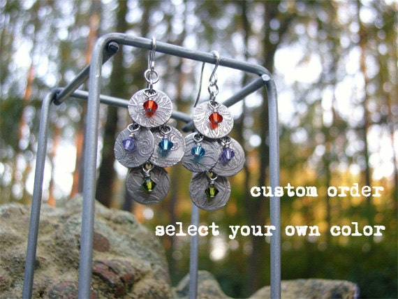 multi color etched silver earrings - shimmer.n4