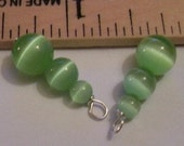 1 Pair of SS wired Green Catseye interchangeable earring charms