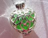 Green Heart Locket  Sea Glass Necklace Beach Glass Seaglass Jewelry Pendant Necklace