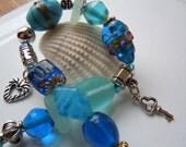 Sea Glass Charm Bracelet -  Beach Glass Jewelry - Preppy Style