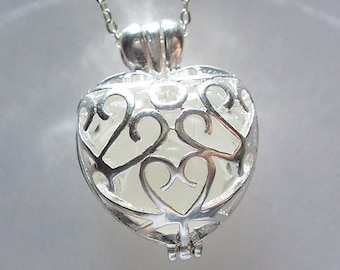 Sea Glass Heart Locket Silver Filigree Seaglass Necklace Beach Glass Jewelry Pendant Necklace