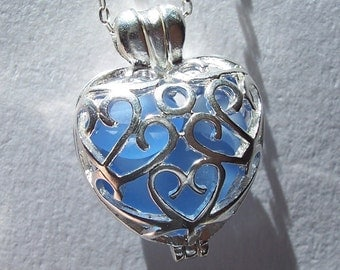 Sea Glass Heart Locket Necklace Beach Glass Jewelry Seaglass Pendant Necklace