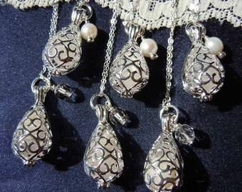 Wedding Jewelry set of 6 - Wedding Necklaces -  Bridesmaid Gift - Pearls and Crystals