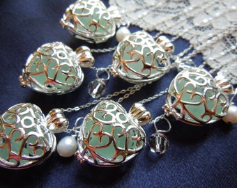 Set of 6 Elegant Heart Wedding Lockets with Aqua Sea Glass