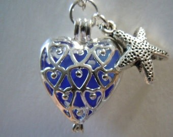 Sea Glass Heart Locket - Blue Necklace -  Beach Glass Seaglass Jewelry