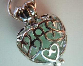 Sea Glass Necklace - Heart Locket -Aqua Beach Glass Beach Glass Necklace