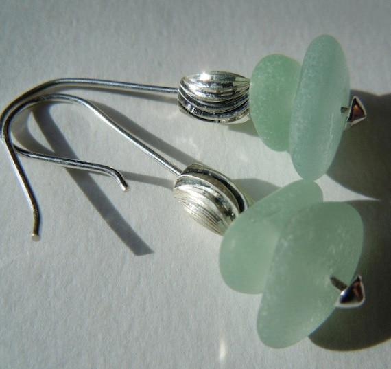 Seafoam Beach Glass Sterling Silver Earrings