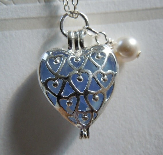 Mother's Day Sea Glass Heart Necklace Blue Beach Glass Locket - Seaglass Jewelry