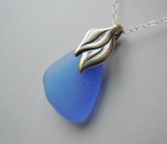 Blue  Necklace Sea Glass Jewelry, Beach Glass Necklace