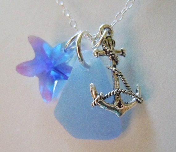 Blue Sea Glass and Anchor  Necklace, Beach Glass Jewelry