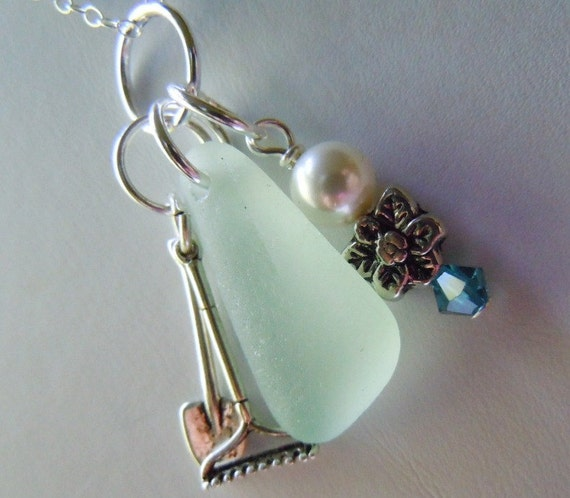 Aqua Sea Glass Gardening Necklace Beach Glass Jewelry