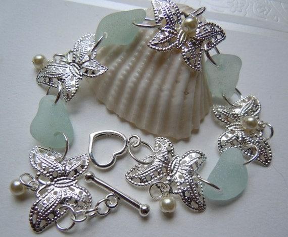 Sea Glass and Butterfly Bracelet -  Seaglass Jewelry -  Beach Glass Bracelet