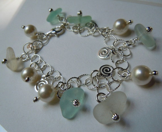 Genuine  Pastel Sea Glass  Bracelet Beach Glass Seaglass Bracelet