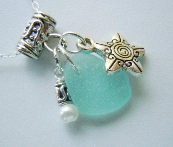 Genuine Aqua Beach Glass  Cluster Necklace Seaglass Sea Glass Jewelry