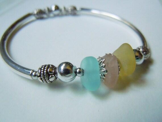 Silver Sea Glass Bracelet with Pastel Beach Glass Jewelry
