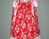 Red Starburst  Pillowcase Dress,  Size 4
