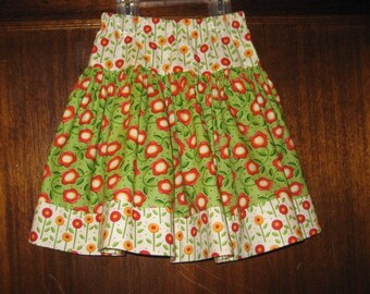 Green and White Mary Engelbreit Caroler Twirl Skirt in Size 5, READY TO SHIP