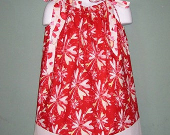 Red Starburst  Pillowcase Dress,  Size 4, READY TO SHIP