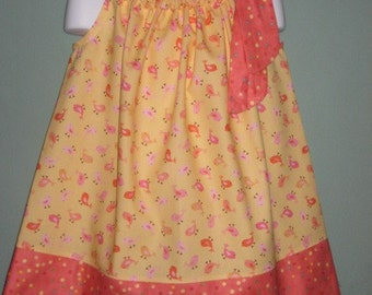 Coral Little Birdy Pillowcase Dress,  SIZE 3, RTS