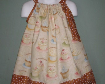 Vintange Cupcakes and Polka Dots Custom Pillowcase Dress, Sizes 3T, ready to ship