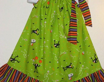 Eerie Alley and Ruffled Stripe Halloween Custom Pillowcase Dress, Size 4 is Ready to Ship