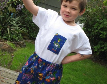 Boy's Shorts set, Boys Monster shirt and shorts, size 5 Ready To Ship