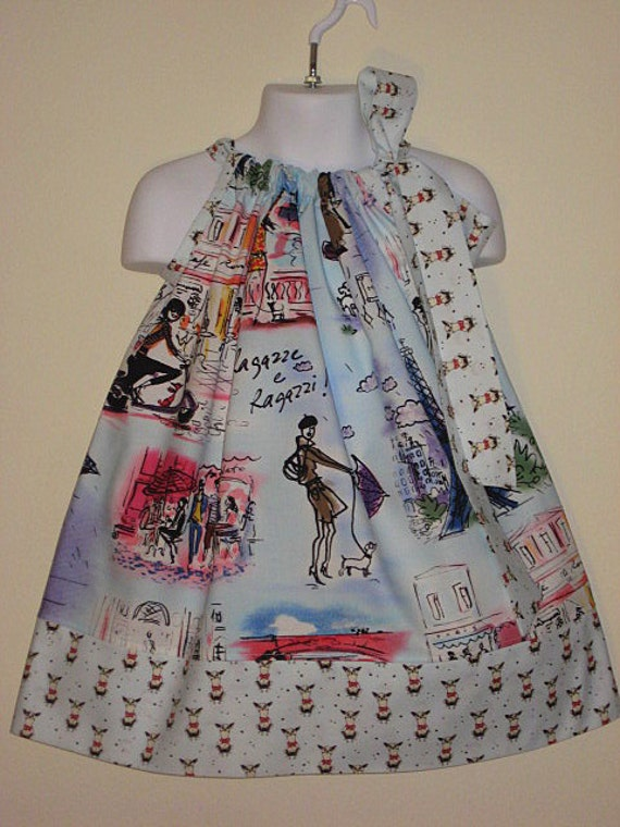 Frenchy Ladies and Little dogs Ooh La La Pillowcase dress, SIZE 4, Ready to ship today