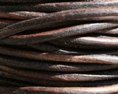 Leather Cord 2 mm Natural DK Brown  3 Yards