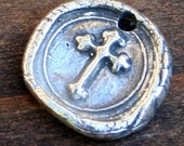 Cross Wax Seal Style Charm Sterling Silver  /CHS22
