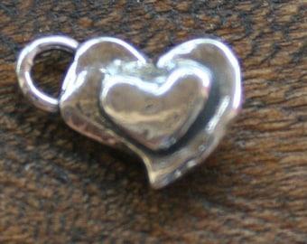 Heart on Heart Charm Sterling Silver