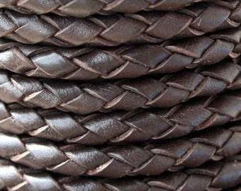 Leather Dk. Brown 4 mm Napa Braided Bolo Cord 1 yd.