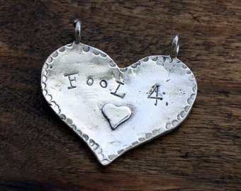 Large Fool For Love Sterling Pendant  DEAL