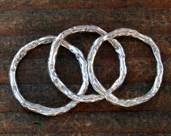Links Round Artisan made Rustic Sterling silver LL200