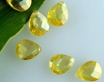 Citrine Yellow Faceted CZ Cubic Zirconia Pear Briolettes