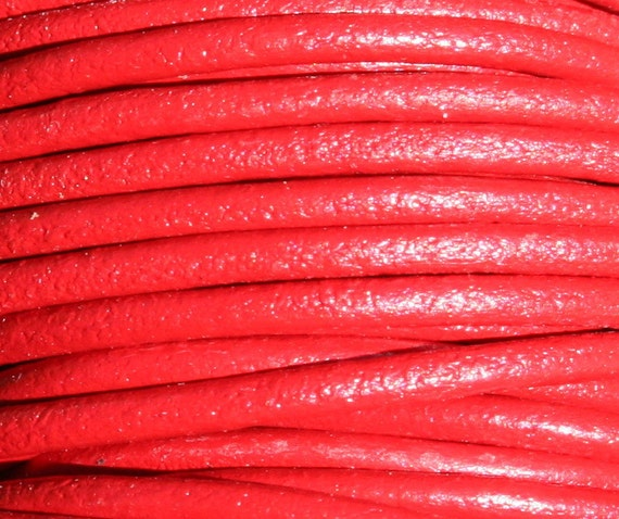 2 mm Red Leather Cord 3 yards