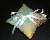 Butterfly Lavender Sachet Pillow Sage Green with Ivory Satin Ribbon