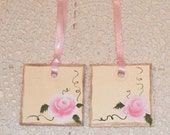 Shabby Cottage Chic Roses Gift Set of 2 Tags