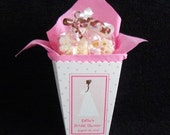 Personalized Bridal Shower Popcorn Box Favor Sets, Pink with bride and pink dots, set of 10